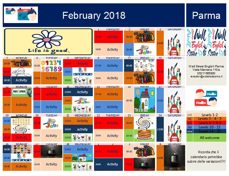 Calendario attività Febbraio 2018 Wall Street English Parma
