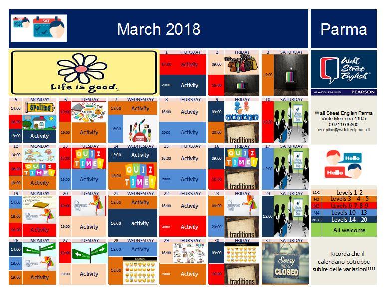 Wall Street English Parma calendario attività